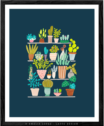 Pots and plants. Blue illustration print