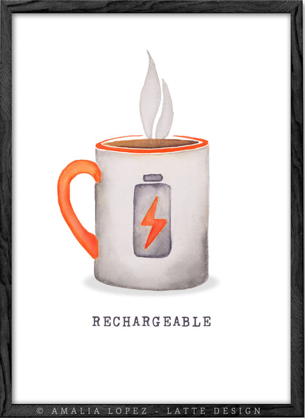 Rechargeable. Coffee print