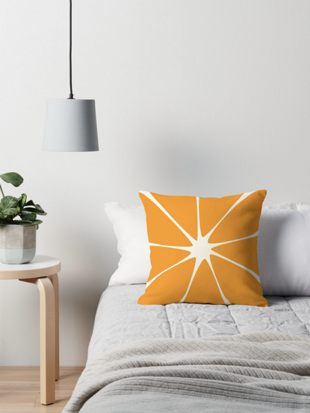 Orange throw cushion