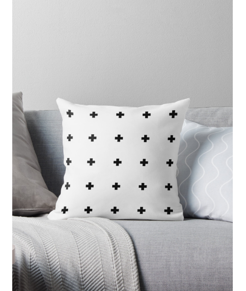 Black and white Swiss cross cushion