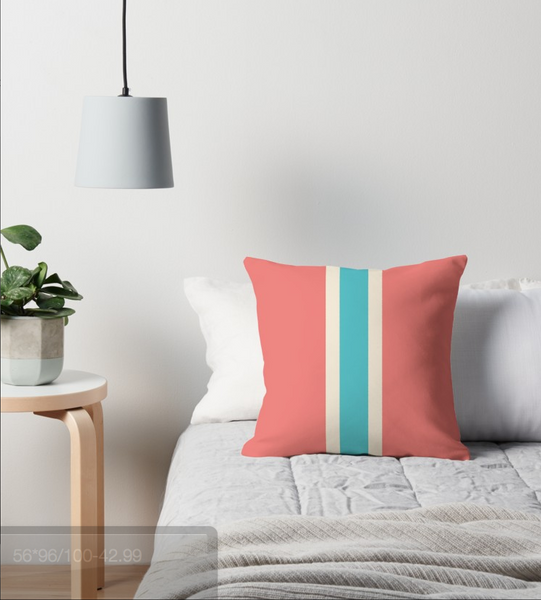 Cream, turquoise and coral red pillow with stripes
