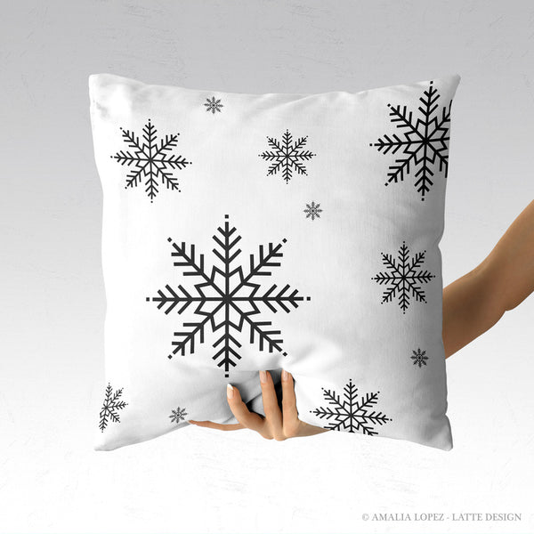 Snowflakes. White Christmas cushion