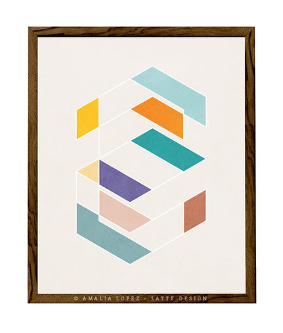 Spring 2. Teal and orange geometric print - Latte Design  - 1