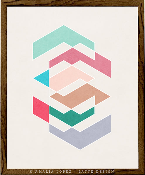 Spring 1. Pink and teal geometric print