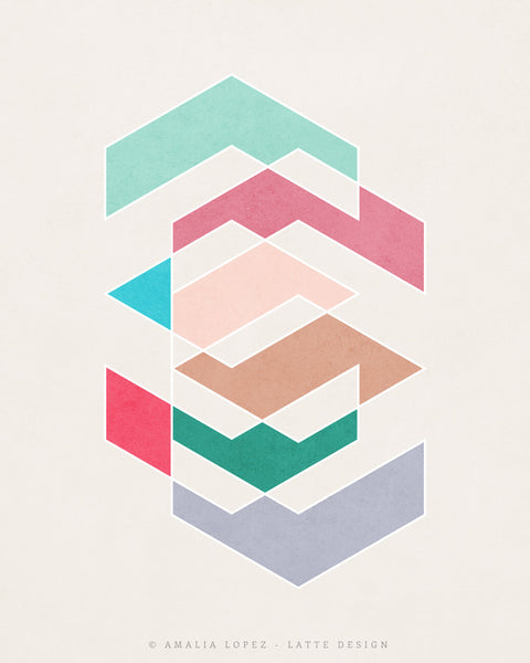 Spring 1. Pink and teal geometric print - Latte Design  - 3
