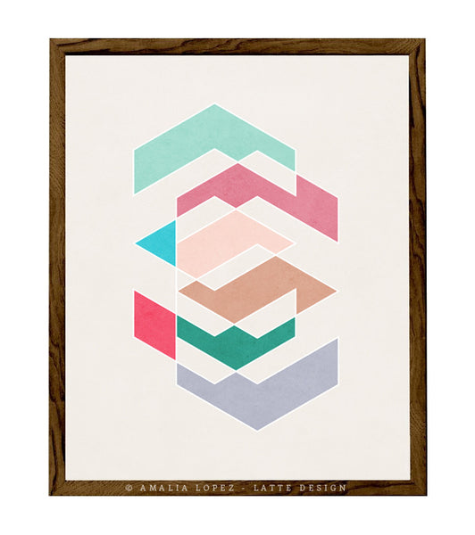 Spring 1. Pink and teal geometric print - Latte Design  - 1