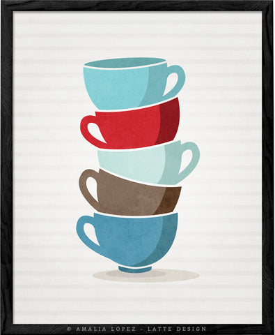 Stacked cups print. Blue Kitchen print