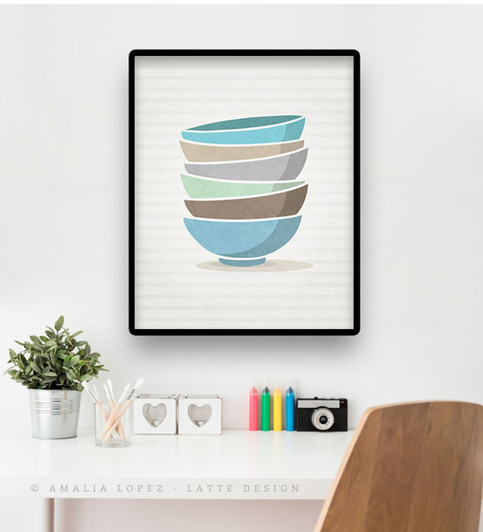 Stacked bowls print. Blue Kitchen print