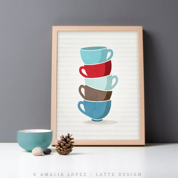 Set of TWO blue kitchen prints: stacked bowls and stacked cups