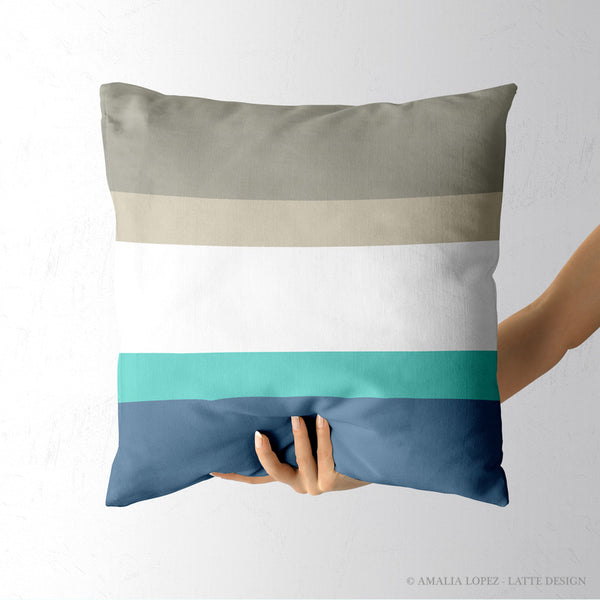 Striped throw cushion. Blue, teal and taupe