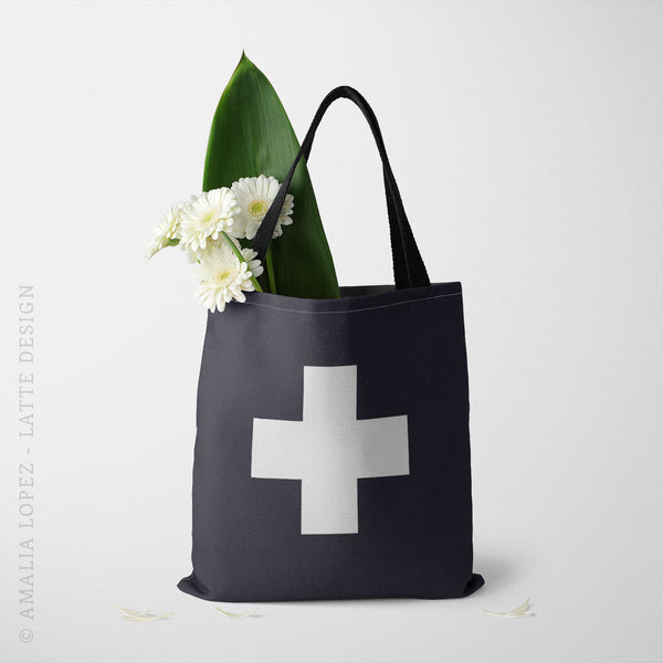 Black and white Swiss cross tote bag