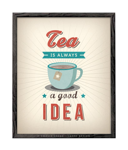 Tea is always a good idea. Cream kitchen print