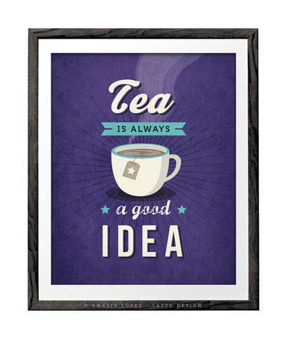 Tea is always a good idea. Purple kitchen print