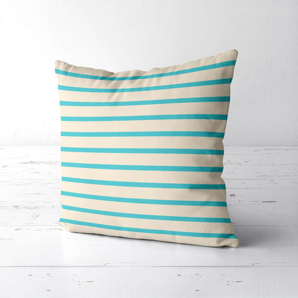 Coastal cream and turquoise pillow with stripes