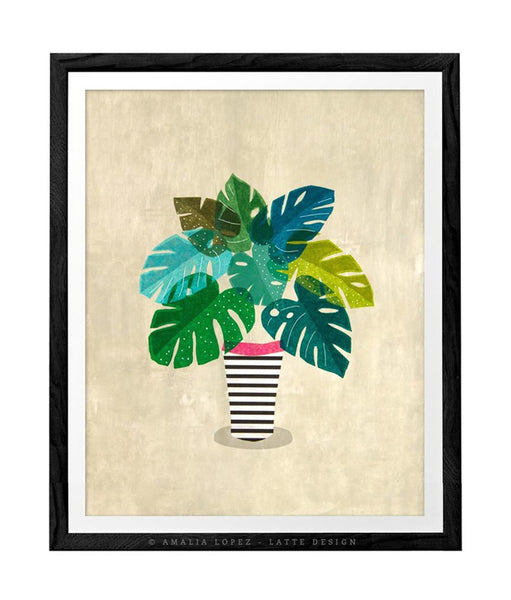 Tropical 2. Monstera Collage print. Green