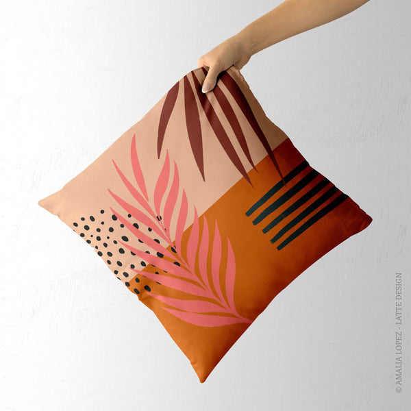 Tropical abstraction 2. Orange tropical cushion