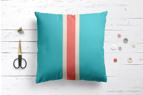 Coral red pillow with stripes
