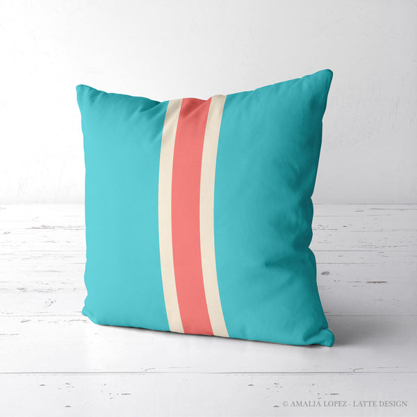Turquoise pillow with stripes