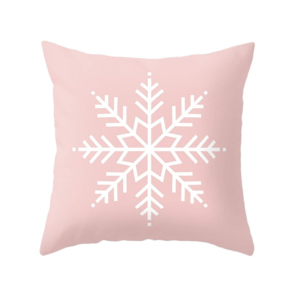 Snowflake. Pink Christmas pillow - Latte Design  - 1