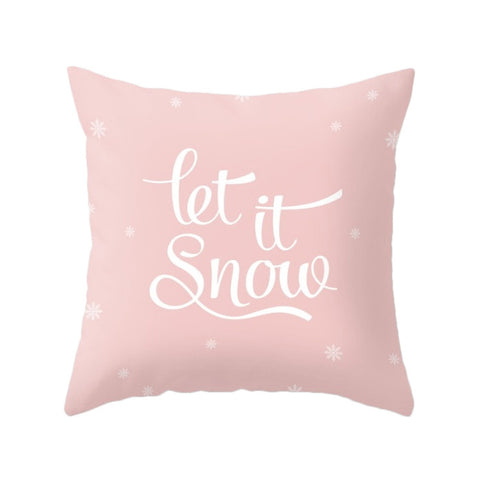 Let is snow. Pink Christmas pillow - Latte Design  - 1