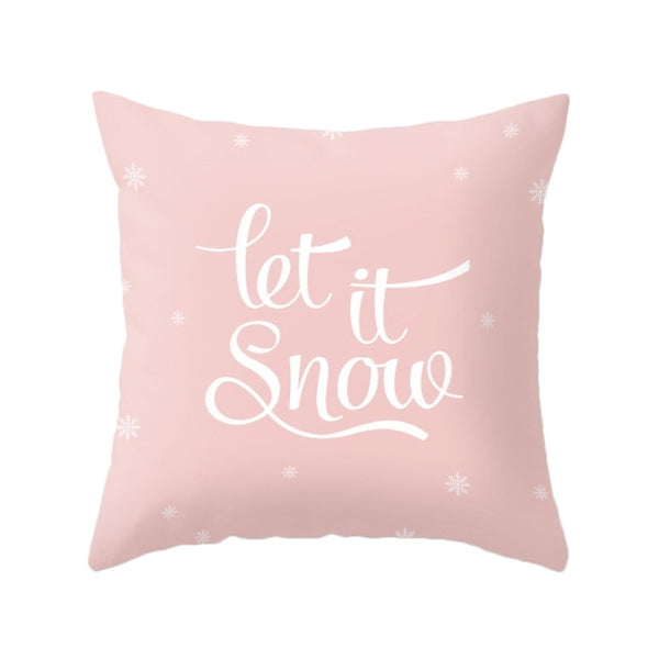 Merry Christmas. Pink Christmas pillow - Latte Design  - 2