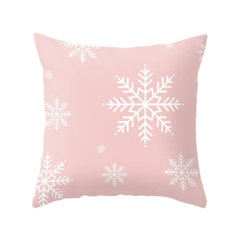 Snowflakes. Pink Christmas pillow - Latte Design  - 1