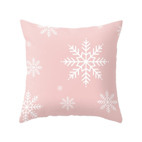 Snowflake. Pink Christmas pillow - Latte Design  - 2