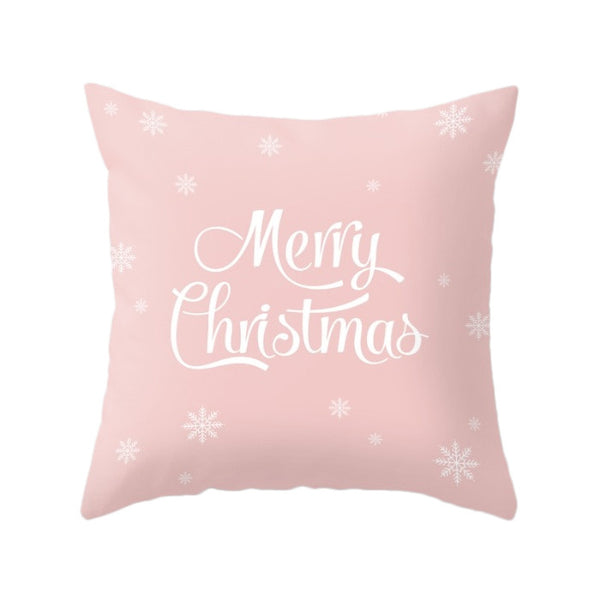 Merry Christmas. Pink Christmas pillow - Latte Design  - 1