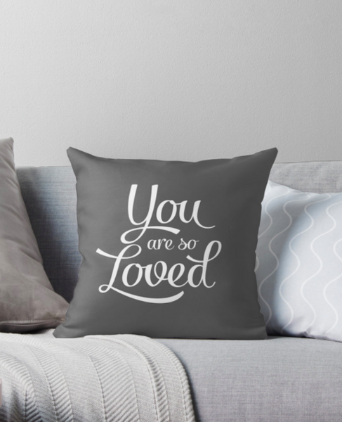 You are so loved cushion. Blue cushion