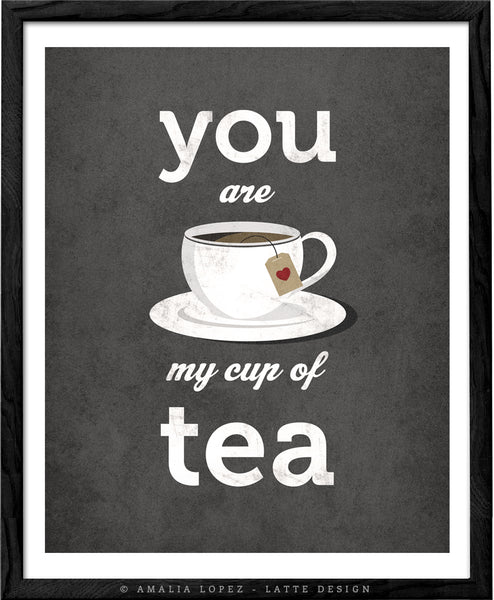 You are my cup of tea print. Grey kitchen print