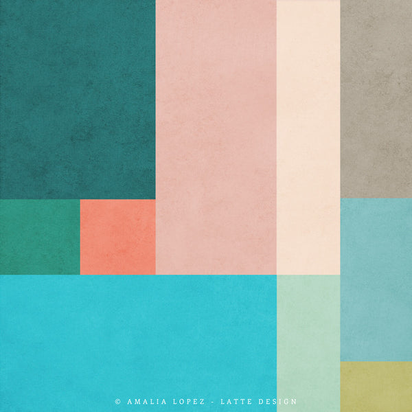 Abstract 10. Teal & pink geometric print - Latte Design  - 5