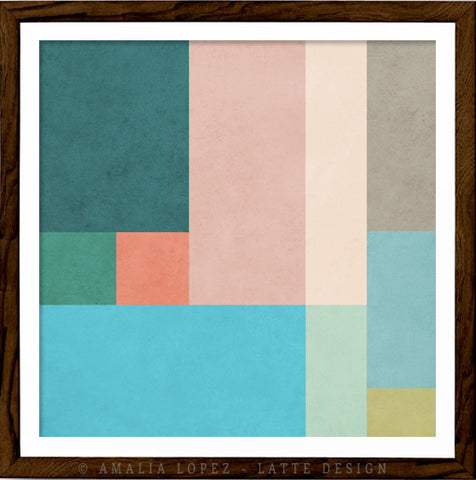 Abstract 10. Teal & pink geometric print