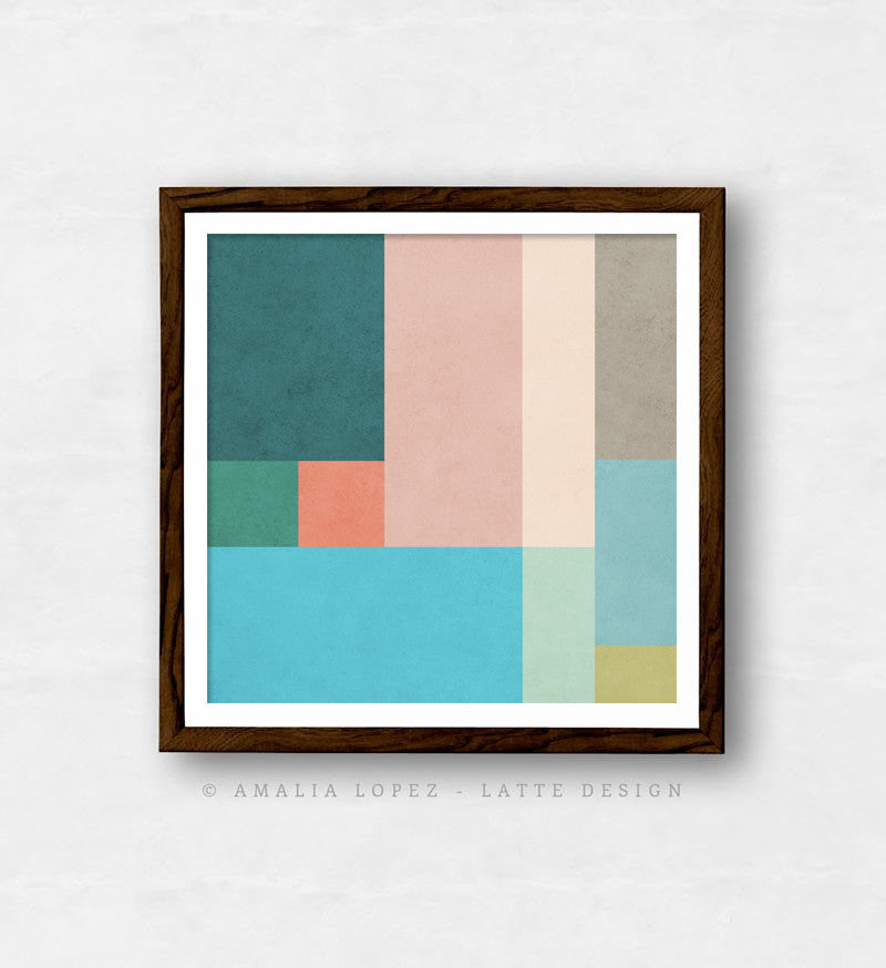 Abstract 10. Teal & pink geometric print - Latte Design  - 1