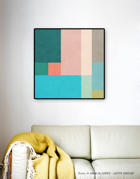 Abstract 10. Teal & pink geometric print - Latte Design  - 4