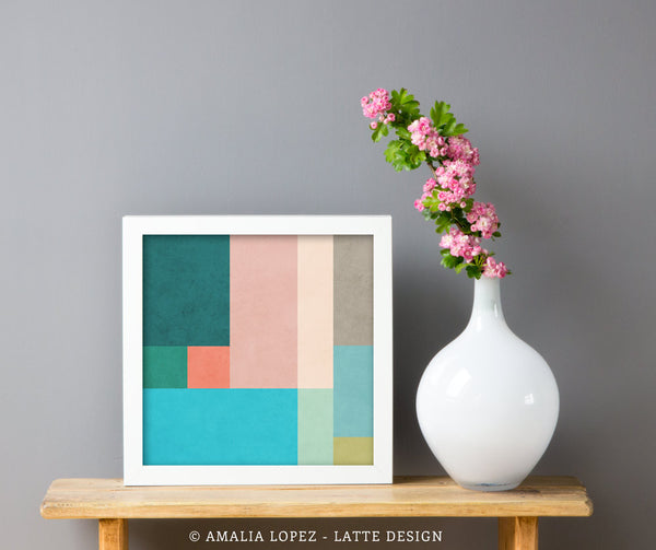 Abstract 10. Teal & pink geometric print - Latte Design  - 2