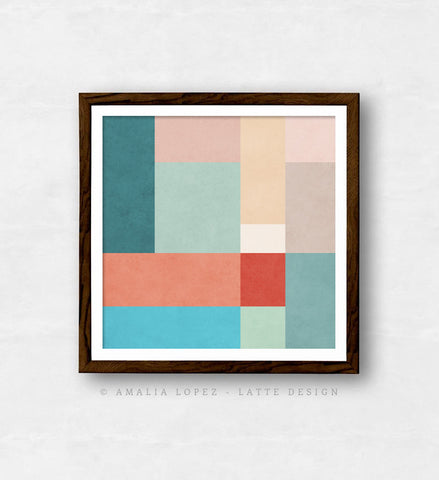 Abstract 11. Teal, pink and red geometric print - Latte Design  - 1