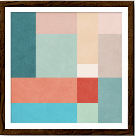 Abstract 11. Teal, pink and red geometric print