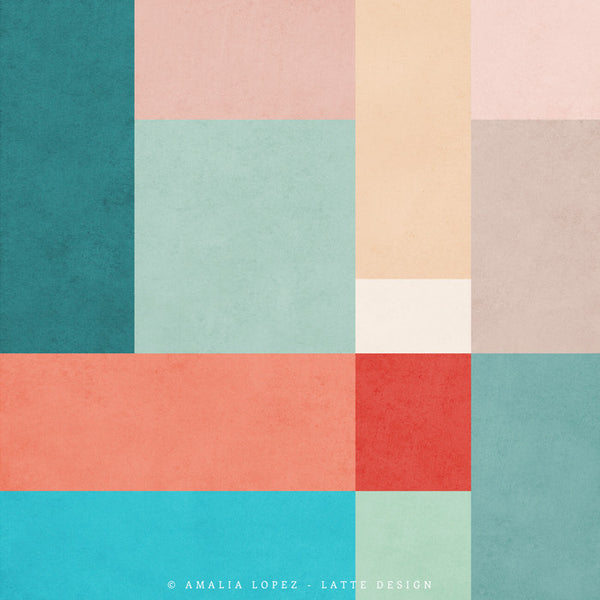 Abstract 11. Teal, pink and red geometric print - Latte Design  - 4
