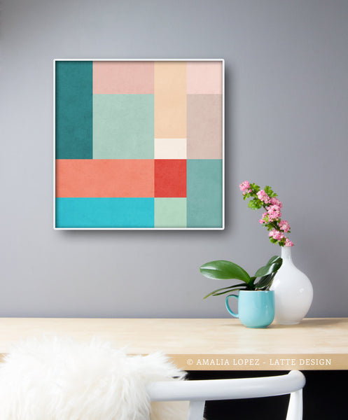 Abstract 11. Teal, pink and red geometric print - Latte Design  - 2