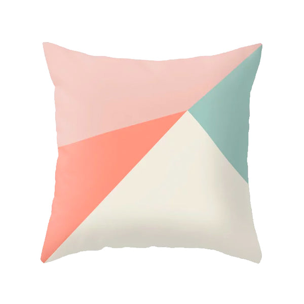 Pink, coral and mint geometric cushion