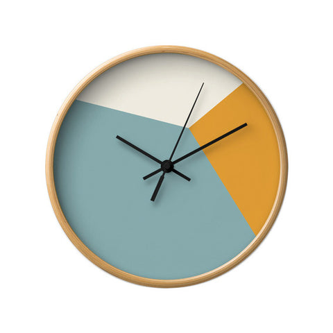 Teal and orange geometric wall clock - Latte Design  - 1