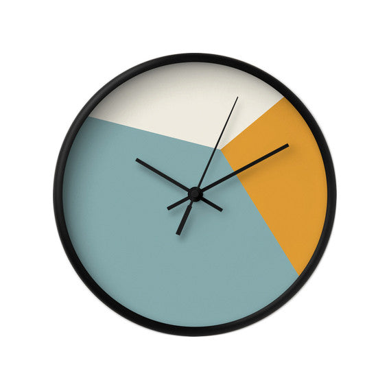 Teal and orange geometric wall clock - Latte Design  - 2