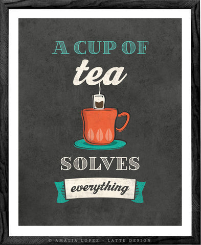 A cup of tea solves everything. Grey kitchen print