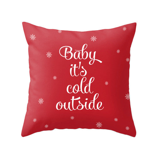 Baby it's cold outside. Pink Christmas pillow - Latte Design  - 5