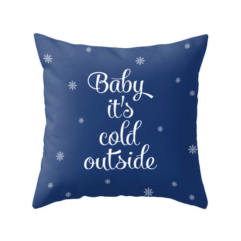 Babu it's cold outside. Blue Christmas pillow - Latte Design  - 1