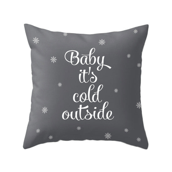 Baby it's cold outside. Pink Christmas pillow - Latte Design  - 2