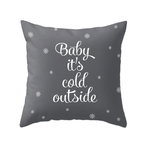 Baby it's cold outside. Grey Christmas pillow - Latte Design  - 1
