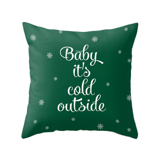 Baby it's cold outside pillow green Christmas pillow green Christmas decor Christmas decoration Christmas cushion green Xmas pillow - Latte Design  - 1