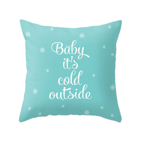 Baby it's cold outside. Turquoise Christmas pillow Snowflake pillow Blue Christmas decor Xmas pillow Robins egg blue Christmas decoration Teal Christmas cushion Xmas Turquoise pillow - Latte Design  - 1
