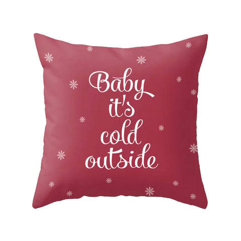 Baby it's cold outside. Burgundy Christmas cushion